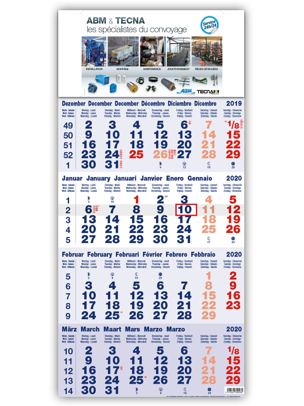 impression calendrier 4 mois bleu