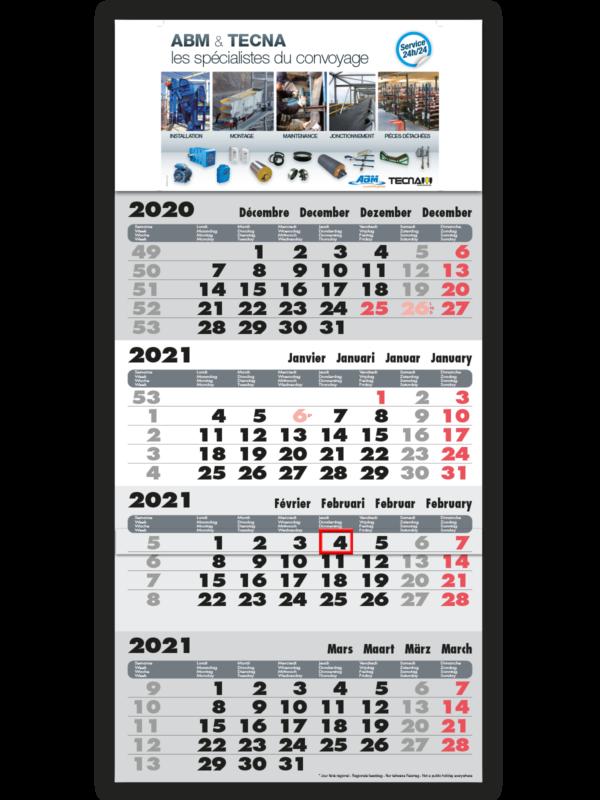 impression calendrier 4mois gris avec memo