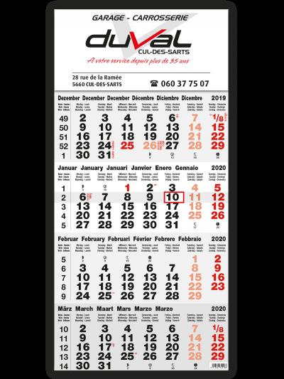 impression calendrier 4 mois gris