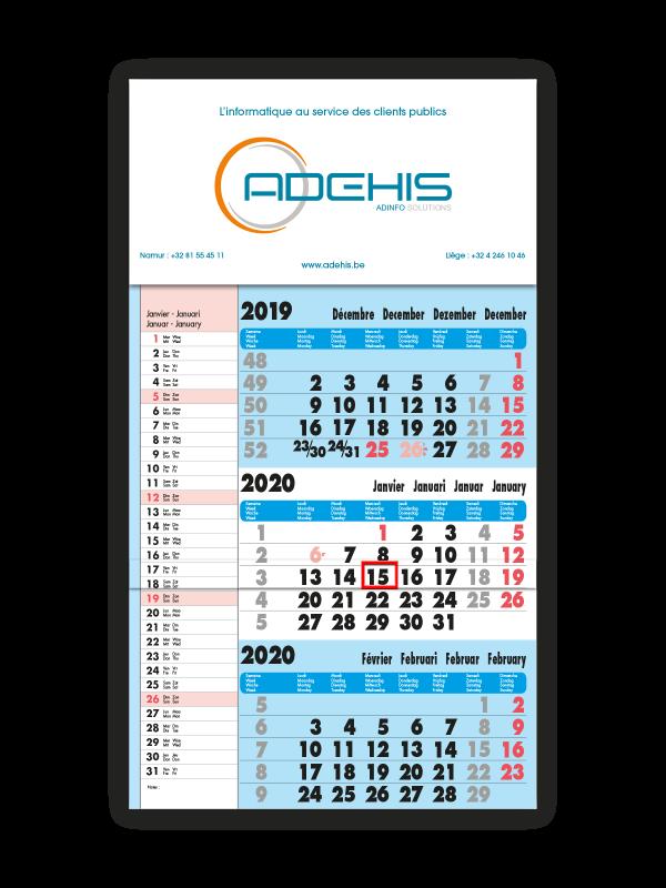 impression calendrier trimestriel bleu avec memo