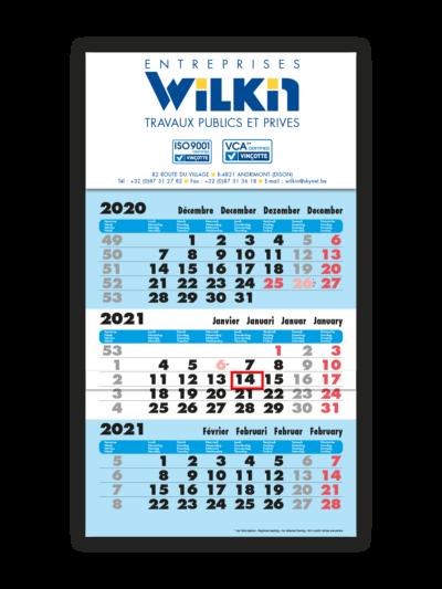 impression calendrier trimestriel bleu entreprise 2021