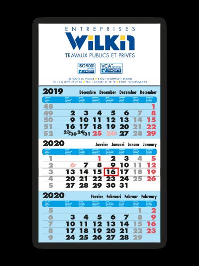 impression calendrier trimestriel bleu entreprise